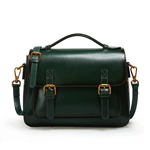 Green à Sac Sac Boucle en magnétique Messenger Femme Visage Bag carré Doux Messager bandoulière Main à Sac Cuir de DGF AHCwqq