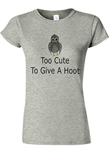 モルヒネ薄いのれんToo Cute to Give a Hoot Novelty Sports Grey Women T Shirt Top-XXL
