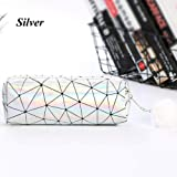 Holographic Handbags Cosmetic Bag Laser Pencil Case Makeup Pouch Plush Ball (Color - silver)