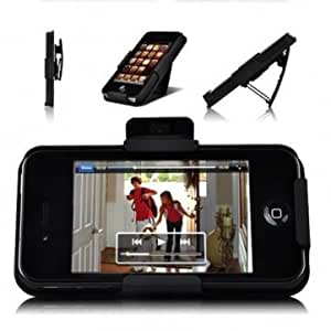Protective Plastic Stand Clip Holster Back Case For iPhone 4 4S --- Color:Black