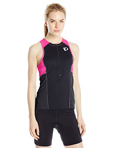 Pearl iZUMi Women's Select Pursuit Tri Sly Jersey, Black/Screaming Pink, - Womens Tri Top