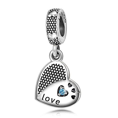 (LONAGO 925 Sterling Silver I Love You Heart Shape Dangle Charm Bead for Bracelet Necklace (Love Heart))