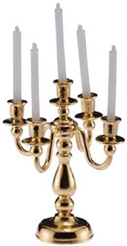 International Miniatures Dollhouse Miniature 5 Arm Candelabra in Polished Brass