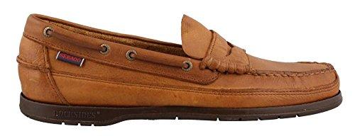 Sebago Men's Sloop Slip-On Loafer, Tan Tumbled Leather, 9.5 M US (Tan Shoes Sebago)