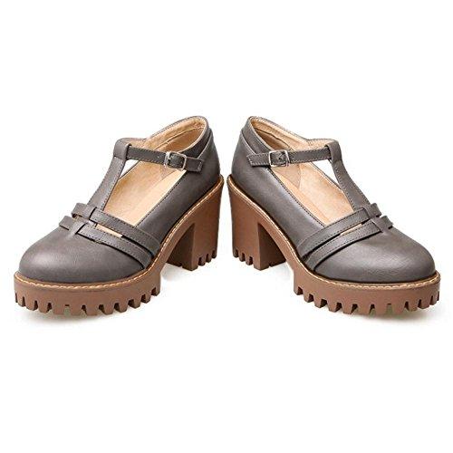 COOLCEPT Women Block Heel Court Shoes Gray PeT1JNvk