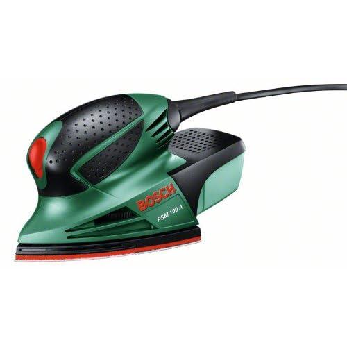 Bosch Ponceuse Multi PSM 100 A compacte et puissante avec coffret et 3 feuilles abrasives 06033B7000