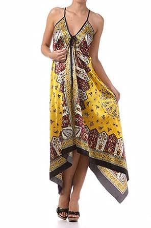 FOHandkerchiefC-908 Silk Feel Handkerchief Hem Criss Cross Back Adjustable Maxi / Long Dress - Gold / Red (One Size Fits Most)