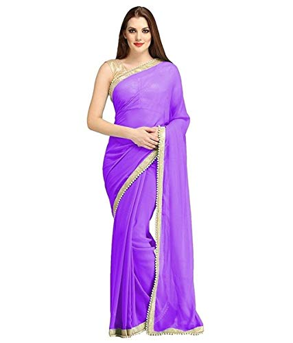 Silk Beaded Georgette - RADANYA Indian Women's Ethnic Saree Beaded Border Plain Georgette Wrap Party Wear Sari