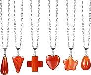 6 Pieces Carnelian Crystal Pendant Necklace for Women | Heart Star Sross Teardrop Hexagonal Carnelian Crystal