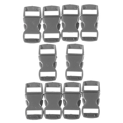 Bracelet Buckle Hook (US Warehouse - 10pcs 0.39in (10mm) Colorful Contoured Side Release Buckles Hook For Paracord Bracelet - (Color: Deep Grey))