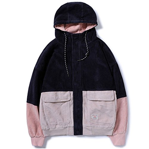 Winter Color Patchwork Corduroy Hooded Jackets Men Hip Hop Hoodies Coats Male Casual Streetwear Outerwear Blue M ()