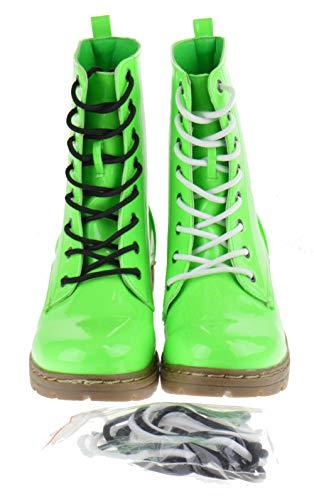 Shoe Dezigns Declyn 01 Womens Patent 2 Color Lace Combat Boots Neon Green 85
