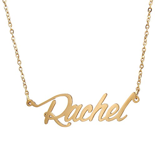AOLO Gold Plated Child Name Necklace Rachel