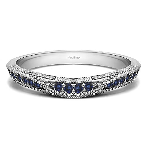 - Sapphire Vintage Filigree Wedding Band In Sterling Silver(0.18Ct) Size 3 To 15 in 1/4 Size Interval