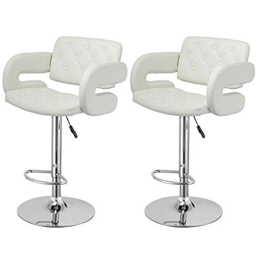 Contemporary Bar stool Hydraulic Adjustable 360 Degree Swivel Leather Padded Backrest Kitchen Pub Dinning Chair Sturdy Chrome Base - Set of 2 White #1949