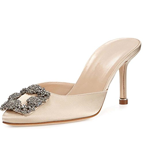 Mavirs Women's Satin Pointy Toe Slide Sandals Rhinestones Kitten Heels Pumps Jeweled Slingback Heeled Mules Shoes 9 M (Smooth Point Toe Pump)