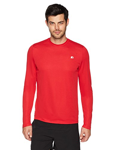 Starter Men's Long Sleeve Tech T-Shirt, Amazon Exclusive, Team Red, Large