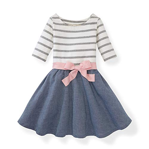Hope & Henry Girls White and Pink Striped with a Chambray Skirt Blocked Skater Dress -