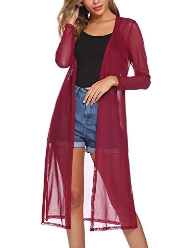 Abollria Women's Long Sleeve Open Front Drape Duster Maxi Long Cardigan Wine Red