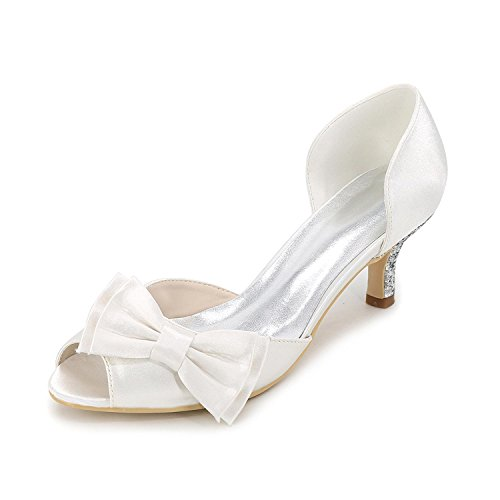Multi With Color Women'S High Shoes Summer White Party Silk Heels Wedding autumn Large Evening Yards Spring amp; Low BOB7qfw