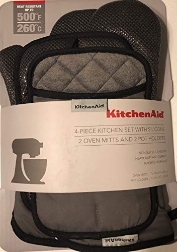 KitchenAid 4 Piece Kitchen Set w/Silicone 2 Oven Mitts, 2 Po