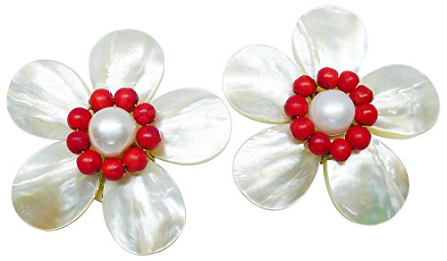 Bijoux De Ja Handmade Red Coral Beads Shell Pearl Pollen and Mother of Pearl Flower Clip-on Earring ()
