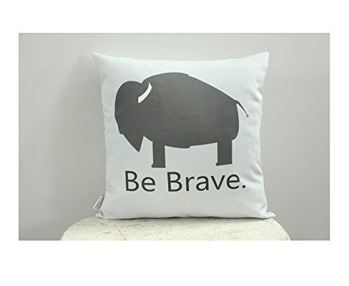 Buffalo be brave Pillow cover grey 16x16 modern hipster accessory home décor nursery baby gift present zipper canvas ready to ship Christmas Gift