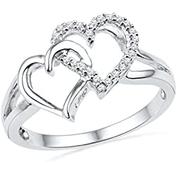 Sterling Silver Round Diamond Double Heart Ring Valentine's Day gift