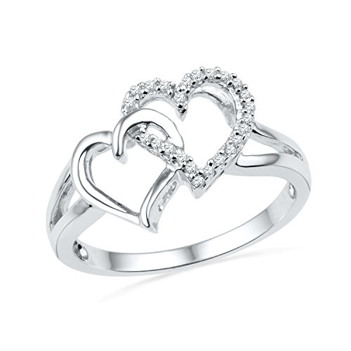 Sterling Silver Round Diamond Double Heart Ring (1/10 - Round Silver Diamond Ring