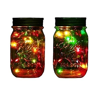 Outdoor Decor Color Changing Led Solar Mason Jar Lights, Starry Fairy String Lights Insert with Jar Decorative Accessories on Porch/Fireplace/ Wall/Ground/ Stairs/for Wedding (2, Multi)