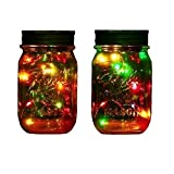 Livingly Light Outdoor Decor Color Changing Led Solar Mason Jar Lights, Starry Fairy String Lights Insert with Jar Decorative Accessories on Porch/Fireplace/Wall/Ground/Stairs/for Wedding (2, Multi)