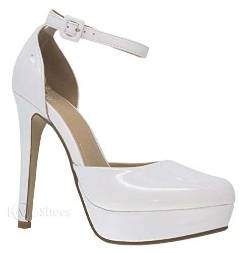 MVE Shoes Women's Ankle Strap Almond Toe Pumps-Shoes, White Pat Size 10 Almond Toe Pump