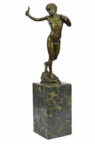 Handmade European Bronze Sculpture Vintage Austrian Boy Vienna Hot Cast Art Deco Figurine Bronze Statue -EUEP-718-Decor Collectible Gift - Vienna Cast