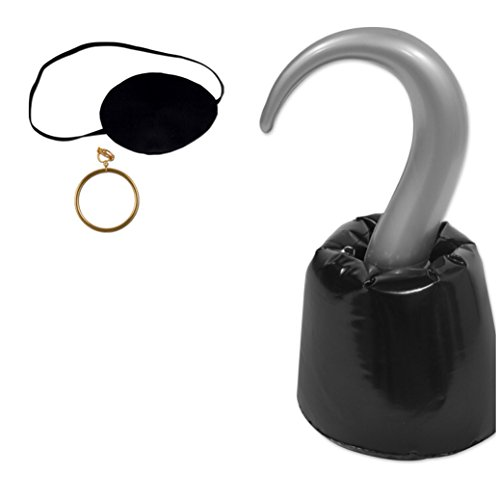 Pirate Accessories Bundle of 3 by Beistle: Snap on Earring, Eye Patch, and Inflatable Hook