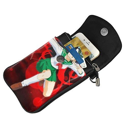Hdadwy mobiltelefon crossbody väska Inuyasha kvinnors crossbody handväskor handväska lätta väskor läder mobiltelefon hölster plånbok fodral axelväskor med justerbar rem