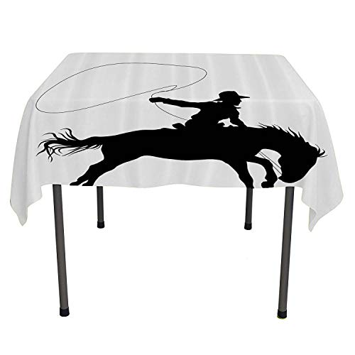 - Cartoon Decor Collection, Wipeable Table CoverSilhouette of Cowboy Riding Horse Rider Rope Sport Country Western Style Art, for Kitchen Dinning Tabletop Decor, 54x54 Inch Black and White