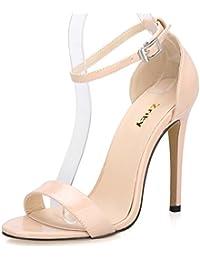Women's Ankle Strap Dress High Heel Sandals Stilettos 11CM Open Toe Heeled Sandal for Wedding Party Evening Business Shoes