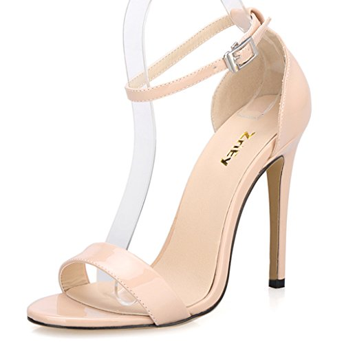 ZriEy Women's Ankle Strap Dress High Heel Sandals Stilettos 11CM Open Toe Heeled Sandal Patent Leather Nude Size 5 for Wedding Party Evening Business Shoes