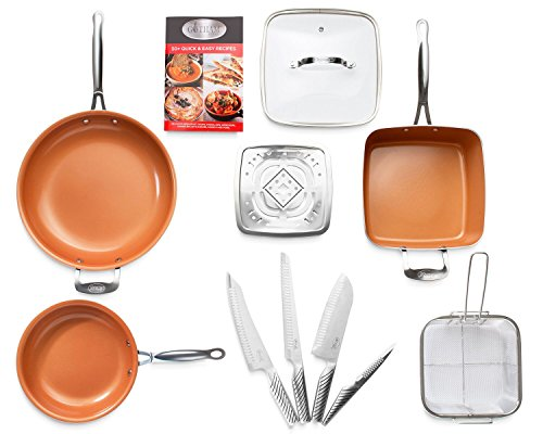 Gotham Steel Complete Kitchen Cookware and Cutlery Set Includes 4 Quart Stock Pot, Fry Pans, Knifes and More