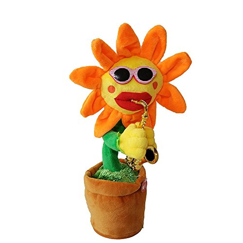Amaping Dancing Flower 60 Songs Singing Cute Cartoon Bobblehead Doll Toy Car Accessories/Dashboard Bobblehead for Car Home / Interior Decoration, Saxophone Plush Toy, Kid's Gift (Yellow) ()