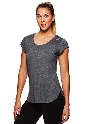 Reebok Women's Legend Performance Short Sleeve T-Shirt with Polyspan Fabric - Charcoal Semi Heather, X-Small by Reebok (Image #1)
