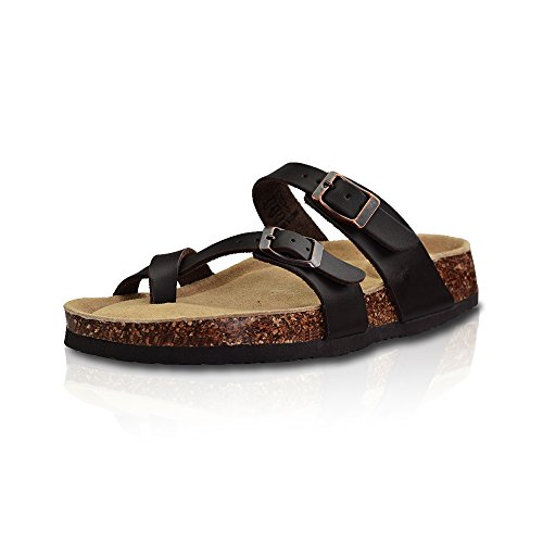 LA PLAGE Girl Women's Adjustable Toe Ring Flat Slide Cork Sandals for Summer 8 US Brown by LA PLAGE (Image #1)
