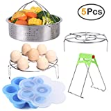 Instant Pot Accessories, ZOUTOG Steamer Cookware Set with Steamer Basket/Egg Steamer Rack/Steam Rack/Egg Bites Molds/Dish Clip - Fits 5, 6 and 8 Qt Instant Pot Pressure Cooker