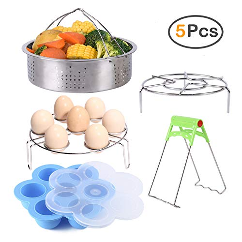 5 Piece Pressure Cooker Accessories, ZOUTOG Steamer Cookware Set Compatible with Instant Pot Accessories - Steamer Basket / Egg Steamer Rack / Steam Rack / Egg Bites Molds / Dish Clip - Fits 5, 6 and