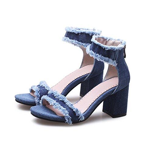 MEI&S Bloque de Mujer Tacones Peep Toe Sandalias Blue