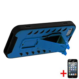 APPLE IPHONE 5 5S BLUE BLACK HYBRID TREAD KICKSTAND COVER HARD GEL CASE + FREE SCREEN PROTECTOR from [ACCESSORY ARENA]