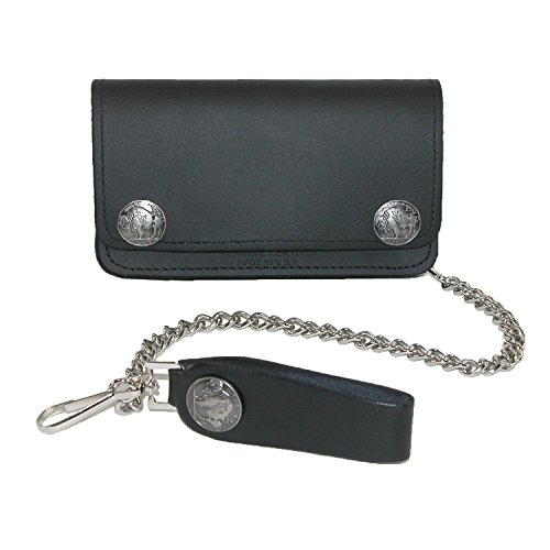 Bills Card Credit Buffalo (Iris Tyler Men's Leather and Nickel Snaps Chain Trucker Wallet, Black)