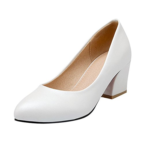 Carolbar Womens Bridal Fashion Party Pointed Toe Mid Heel Dress Pumps Shoes White