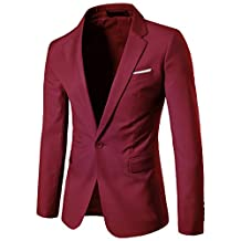 K3K Mens Slim Fit Casual One Button Business Suit Blazer Jacket 9 Colours
