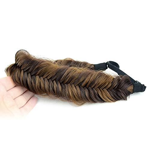 BOBIYA Wide Fishtail Synthetic Hair Braided Headband Classic Chunky Plaited Braids Elastic Stretch Hairpiece Women Girl Beauty accessory,59g (Chocolate Toast)